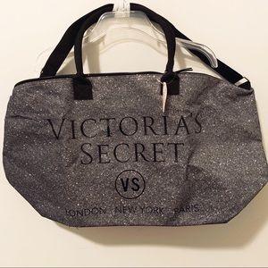 NWT Victoria Secret large black & silver tote